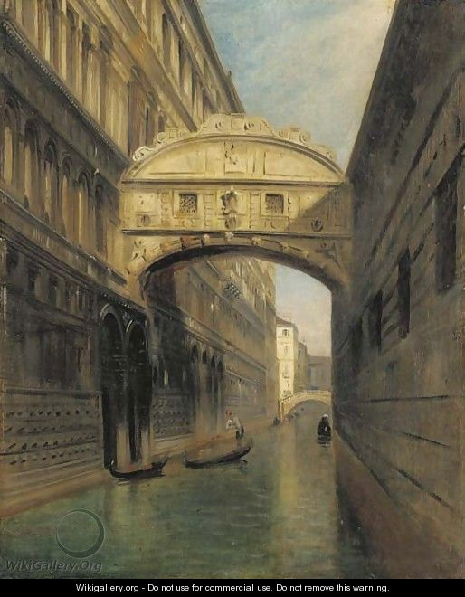 A view of the Bridge of Sighs and the Rio del Palazzo, seen from the Ponte della Paglia, Venice - Italian School