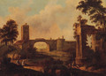 Figures Before Ruins In An Italianate Landscape - Italian School