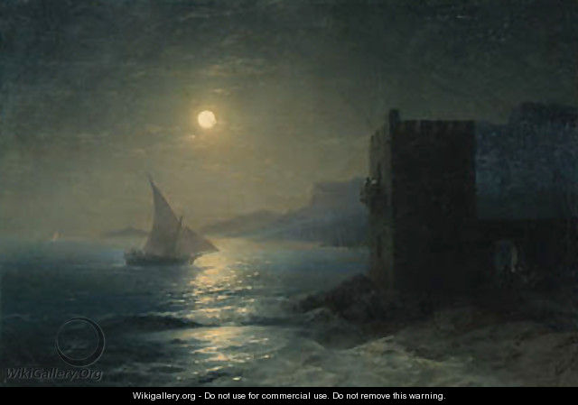 Coastal Fortress with Felucca by Moonlight - Ivan Konstantinovich Aivazovsky