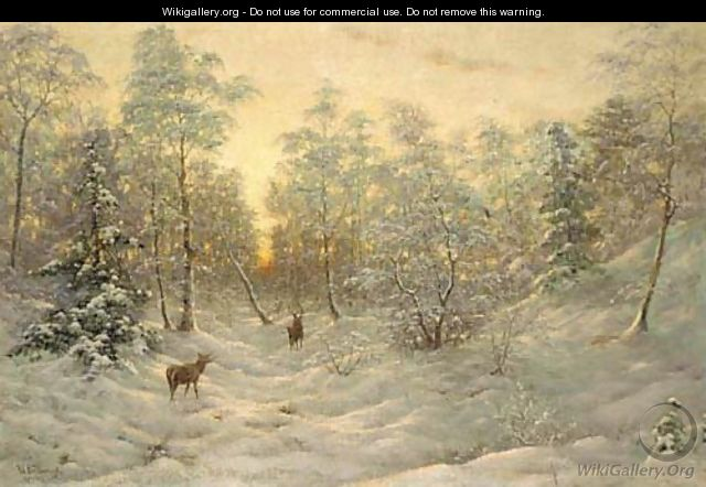 Deer in a snowy landscape at dusk - Ivan Fedorovich Choultse