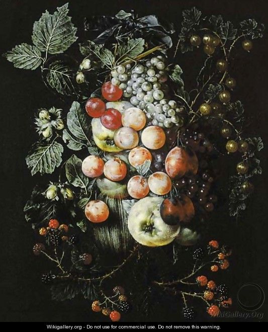 A swag of fruit hanging from a nail against a wall - Jan van Kessel
