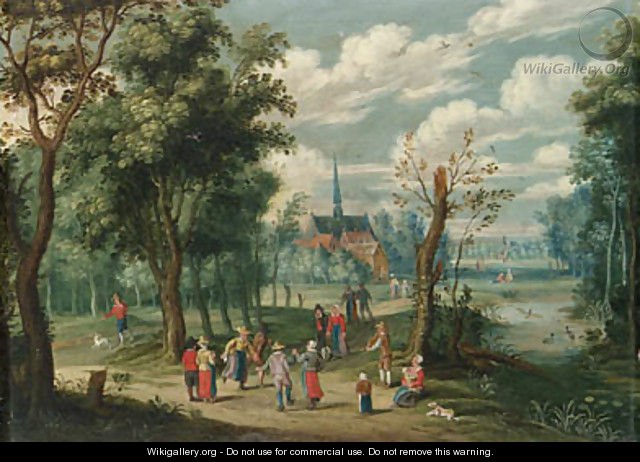 A wooded landscape with peasants dancing - Isaak van Oosten
