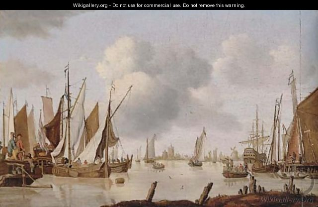 Dutch shipping off an estuary with a threemaster - Isaac Walraven