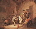 Peasants dancing and drinking in a tavern interior - Isaack Jansz. van Ostade