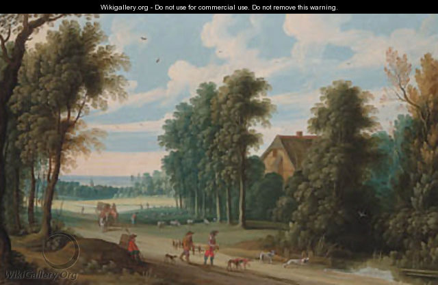An extensive wooded landscape with a falconer and his hoop on a path - Isaak van Oosten