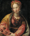 Portrait of a lady, half-length, holding a mask - Italian School