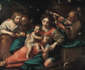 The Holy Family with Saint John the Baptist and two Attendants carrying Fruit - Italian School