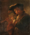 A young Man playing a Flute - Italian School