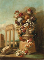 Flowers in ornamental urns on stone plinths amongst classical ruins - Italian School
