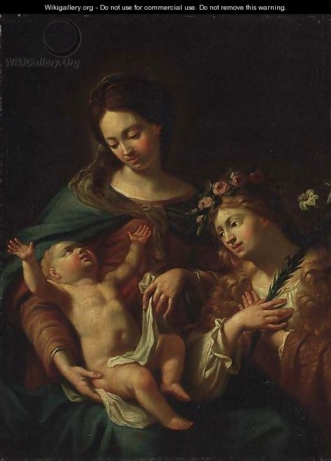 The Madonna and Child with an adoring angel - Italian School