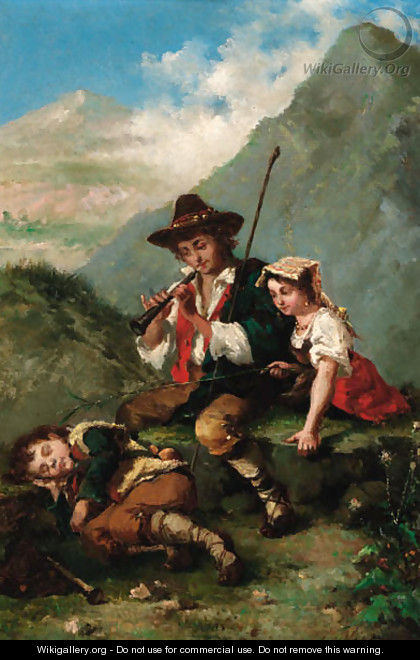 Rousing the sleeping shepherd boy - Italian School
