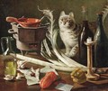 A still life with a cat - Italian School