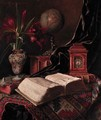 A globe, a vase of amaryllis, a book and a carriage clock on an oriental rug - Ignaz Schonbrunner