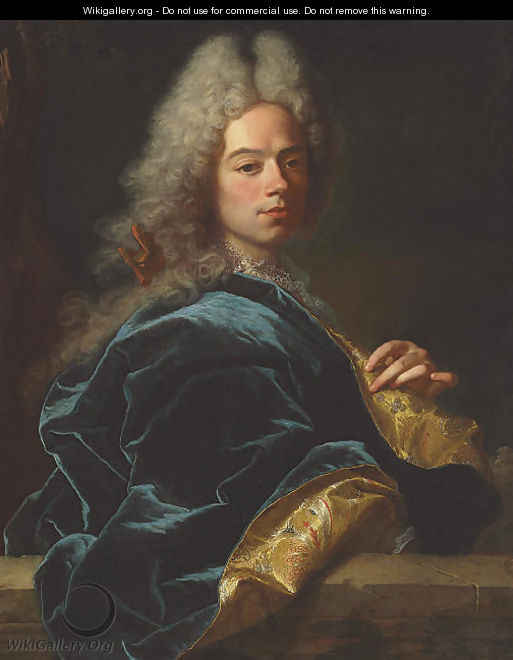 Portrait of Jean-Louis de Roll-Montpellier, half-length, in a blue and gold robe - Hyacinthe Rigaud