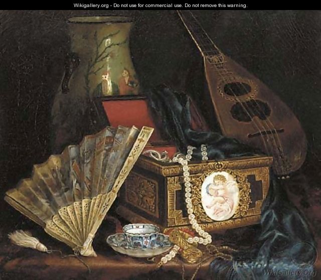 A Jewellery Box, A Fan, An Oriental Vase ,A Mandolin And A Cup And Saucer On A Table - Hungarian School