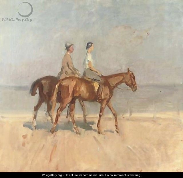 An afternoon ride on Scheveningen beach - Isaac Israels