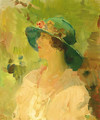 Dame met groene hoed a lady with a green hat - Isaac Israels