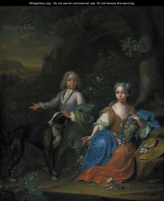 Double portrait of a boy and a girl, small full-length, with a greyhound in a wooded landscape - Heroman Van Der Mijn
