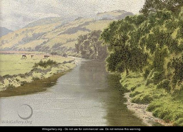 The Rheidol, from Pen-y-bont Bridge; and children on a beach - Horace Walter Gilbert