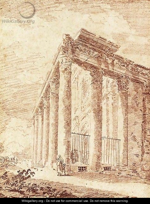 The Temple of Antoninus and Faustina - Hubert Robert