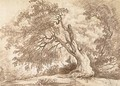 Study of a large tree, a figure in the left foreground - Hubert Robert