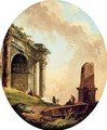 Drovers and their livestock before a ruined arch and obelisk - Hubert Robert