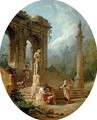 A capriccio of a classical arcade and a column with figures conversing before a statue - Hubert Robert