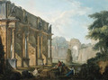 Capricci of Roman ruins with figures conversing and resting - Hubert Robert