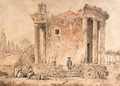 A capriccio with the Temple of the Sybil at Tivoli, Capuchin priests standing amongst the ruins - Hubert Robert