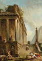 A capriccio of a ruined classical temple and a Pyramid with a flight of steps - Hubert Robert