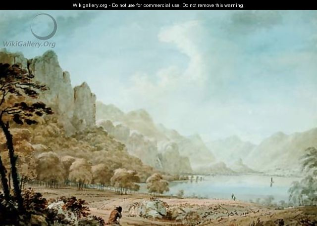 View of Derwent Water with a traveller resting in the foreground - Hugh William Williams