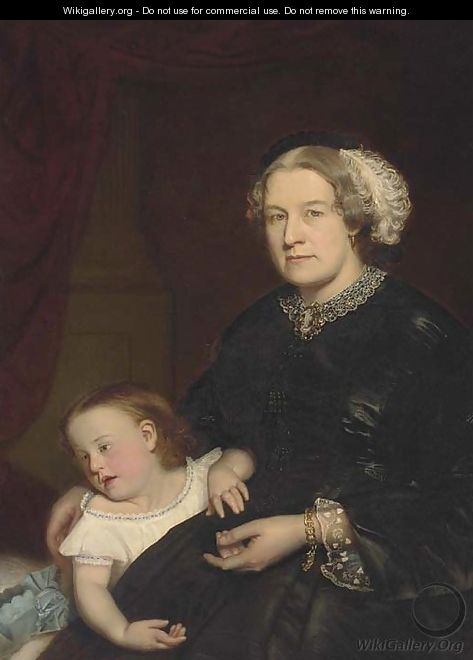 Portrait of a mother and child, seated three-quarter-length, the mother in a black dress with lace trimming, her daughter by her side - Hugh Collins
