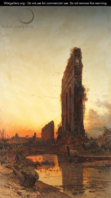 The Roman aqueducts at sunset - Hermann David Solomon Corrodi
