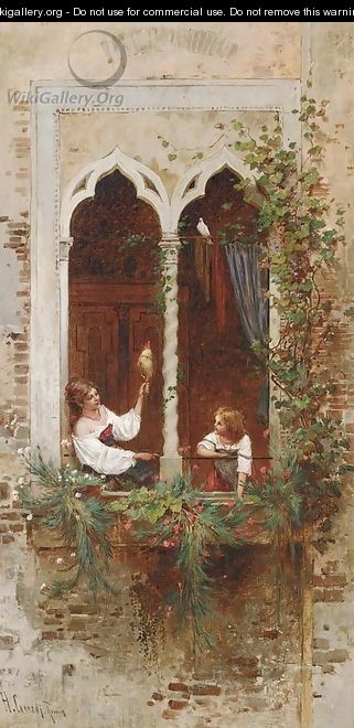 On a Venetian balcony - Hermann David Salomon Corrodi
