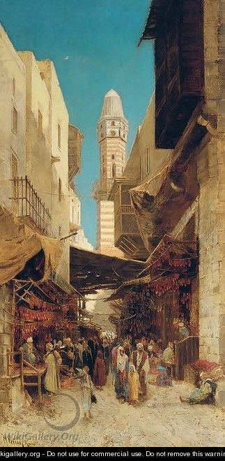 A market in Cairo - Hermann David Salomon Corrodi