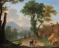 An Italianate landscape with travellers and peasants on a path by a river - Herman Van Swanevelt