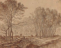 A stand of trees by a river with a woodcutter chopping logs - Herman Saftleven