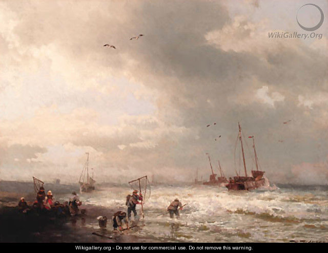 Fishermen by the shore of a stormy sea - Herman Herzog