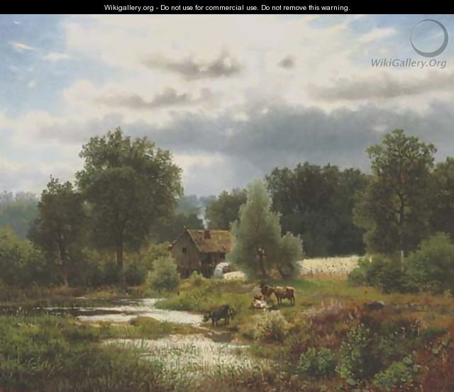 Cattle by a watermill 2 - Herman Herzog