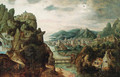 A panoramic mountain landscape, with an extensive town by a river, Christ with Cleopas and Peter on the Way to Emmaus in the foreground, and the subse - Herri met de Bles