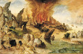 A mountainous landscape with Lot and his Daughters, the Destruction of Sodom and Gomorrah beyond - Herri met de Bles
