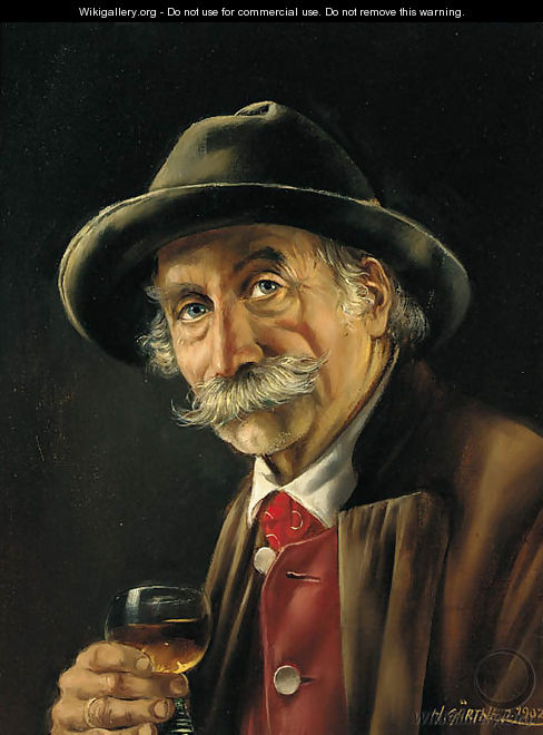 A Bavarian gentleman drinking a glass of wine - Hermine Gartner