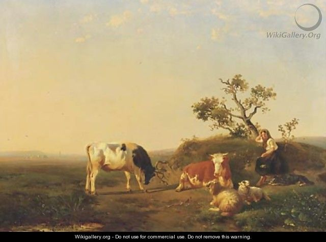 A peasant girl and cattle resting in a landscape - Johan Daniel Koelman