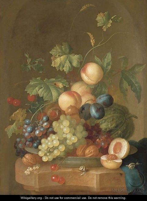 Grapes, cherries, plums, peaches, walnuts and a melon in a porcelain bowl - Johan Christian Roedig