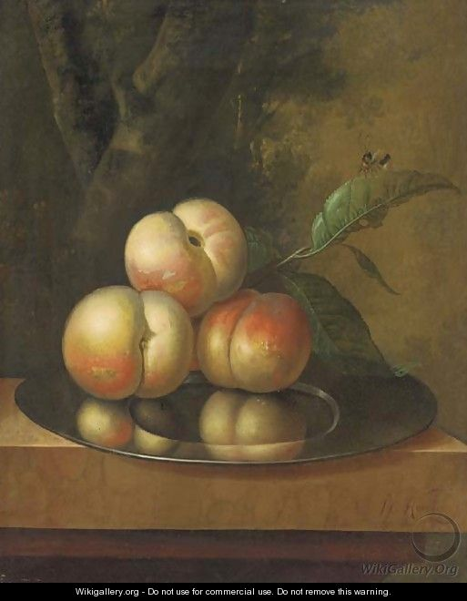 Peaches and a bee on a pewter platter - Johan Christiaan Roedig