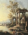 A coastal landscape with figures by classical ruins, a port beyond - Johann Franz Ermels