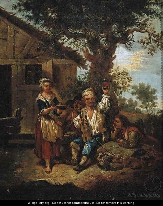 A violinist accompanied by travellers outside an inn - Joseph Conrad Seekatz