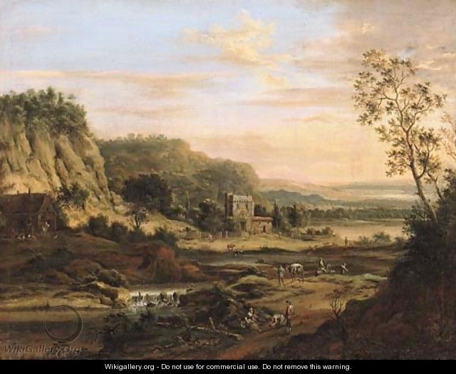 Peasants on a road by a river in a Rhenish landscape - Johann Christian Vollerdt or Vollaert