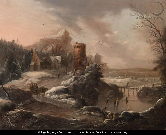 A winter landscape with travellers on a path and skaters on a river, a town and houses nearby - Johann Christian Vollerdt or Vollaert