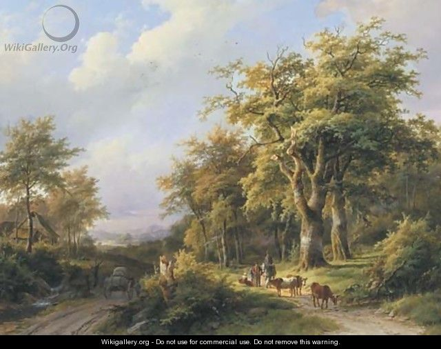 Travellers resting on a forest path in a wooded valley - Johann Bernard Klombeck